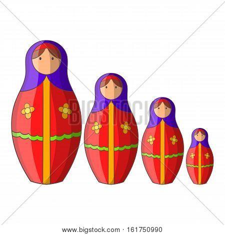 Russian tradition matryoshka doll icon. Cartoon illustration of russian tradition matryoshka doll vector icon for web design