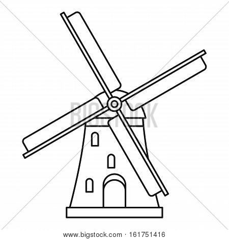 Windmill icon. Outline illustration of windmill vector icon for web