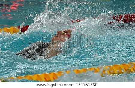 Hong Kong China - Oct 30 2016. Olympian and world champion swimmer Emily SEEBOHM (AUS) swimming in the Women's Backstroke 100m Preliminary Heat. FINA Swimming World Cup Victoria Park.