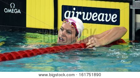Hong Kong China - Oct 30 2016. Olympian and world champion swimmer Emily SEEBOHM (AUS) after the Women's Backstroke 100m Preliminary Heat. FINA Swimming World Cup Victoria Park.