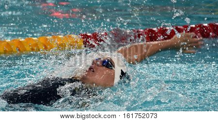Hong Kong China - Oct 30 2016. Competitive swimmer Katinka HOSSZU (HUN) swimming in the Women's Backstroke 100m Preliminary Heat. FINA Swimming World Cup Victoria Park Swimming Pool.