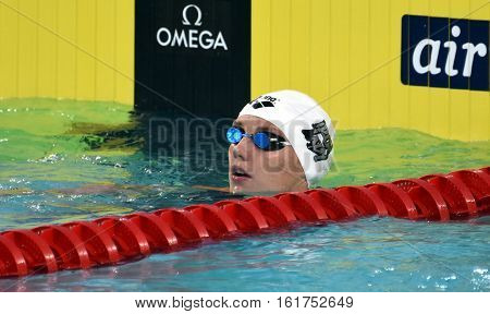 Hong Kong China - Oct 30 2016. Competitive swimmer Katinka HOSSZU (HUN) after the Women's Backstroke 100m Preliminary Heat. FINA Swimming World Cup Victoria Park Swimming Pool.