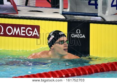 Hong Kong China - Oct 30 2016. Competitive swimmer SANKOVICH Pavel (BLR) after the Men's Backstroke 50m Preliminary Heat. FINA Swimming World Cup Victoria Park.