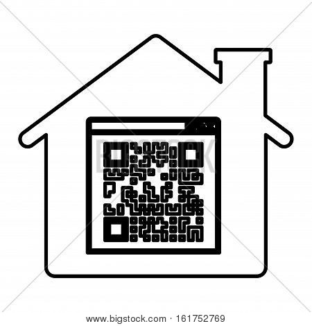 Qr code and house icon. Scan technology information price and digital theme. Isolated design. Vector illustration