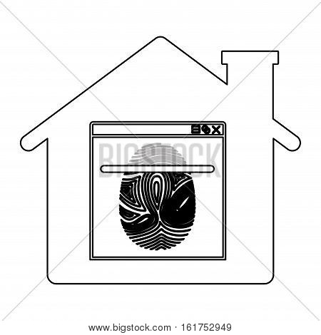 Fingerprint and house icon. Identity security print and privacy theme. Isolated design. Vector illustration