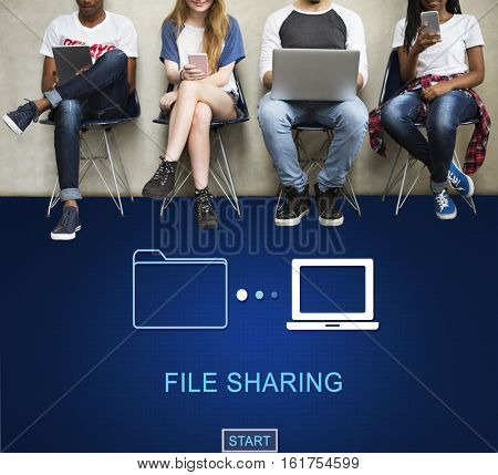 File Sharing Data Media Internet Technology Concept