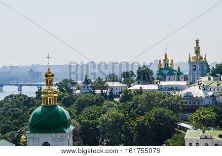 Kiev, Ukraine - June 6 2013: Aerial view of Pechersk Lavra orthodox monastery