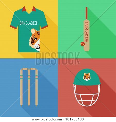 Bangladesh cricket icons in flat design with long shadows
