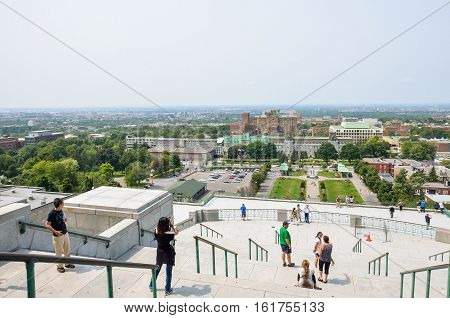 Montreal, Canada - July 25 2014: Saint Joseph's Oratory of Mount Royal with steps and people