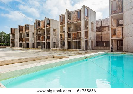 La Jolla, USA - December 10 2015: Architecture of the Salk Institute in San Diego with blue pool