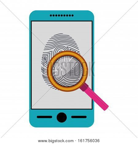Fingerprint and smartphone icon. Identity security print and privacy theme. Isolated design. Vector illustration