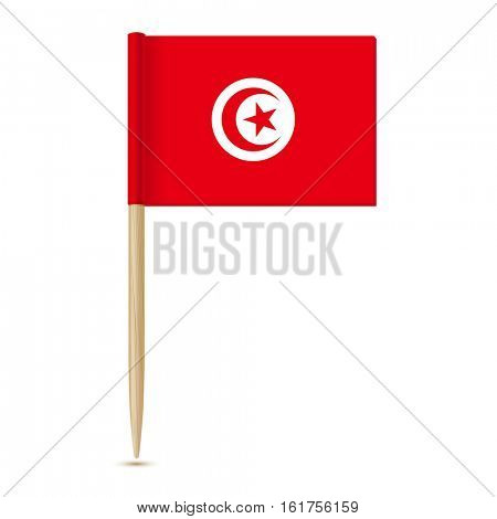 Flag of Tunisia. Flag toothpick on white background 10eps