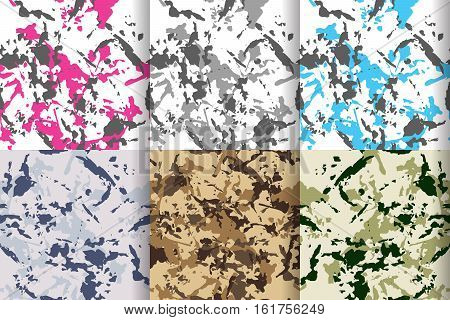 Camouflage seamless patterns set, big collection with blue or turquois, pink, grey and green colors. Vector camo illustration for cloth fabric print