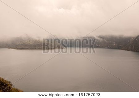 Volcanic Crater Lake Laguna Cuicocha In Ecuador South America