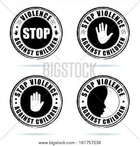 Grunge Rubber Stop Violence Against Children Sign On Hand Set Illustration