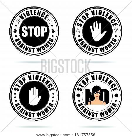 Grunge Rubber Stop Violence Against Woman Sign On Hand Colorful Illustration