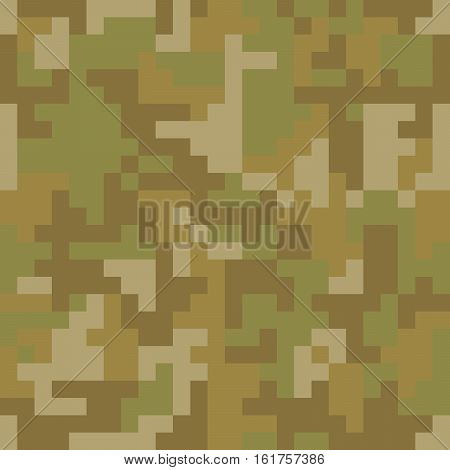 Pixel camo seamless pattern. Brown desert or jungle camouflage. Vector fabric textile print design
