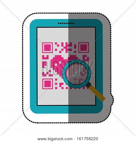 Qr code and tablet icon. Scan technology information price and digital theme. Isolated design. Vector illustration