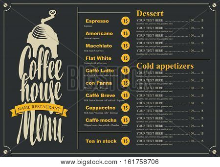 menu with price list for the coffee house with a grinder