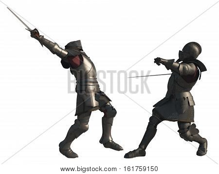 Illustration of two late Medieval knights fighting a battle with swords, isolated on a white background, digital illustration (3d rendering)