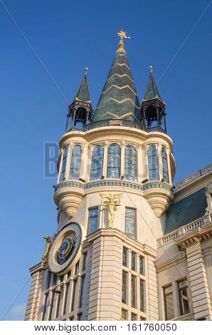 Old building in art nouveau style with tower and astronomical clock, Europe Square,Batumi,Georgia