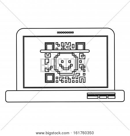 Qr code and laptop icon. Scan technology information price and digital theme. Isolated design. Vector illustration