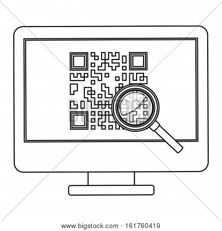 Qr code and computer icon. Scan technology information price and digital theme. Isolated design. Vector illustration
