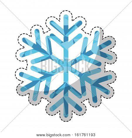 sticker of winter snowflake icon over white background. colorful design. vector illustraiton
