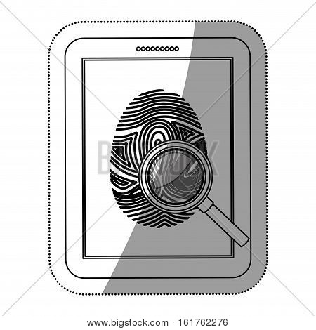 Fingerprint and tablet icon. Identity security print and privacy theme. Isolated design. Vector illustration