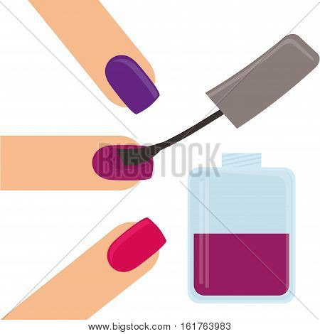 woman finger with nail lacquer icon over white background. colorful design. vector illustration