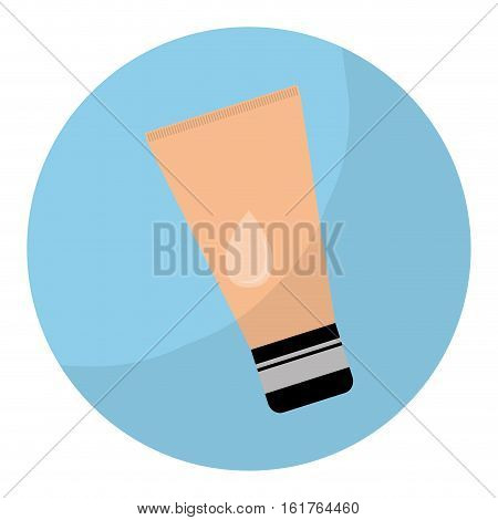 blue circle with face bb cream icon over white background. makeup concept.