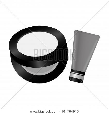 face powder and bb cream icon over white background. makeup concept.