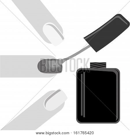 woman finger and nail lacquer icon over white background. vector illustration