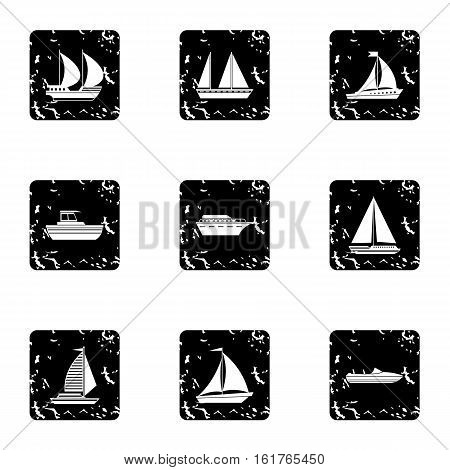 Maritime transport icons set. Grunge illustration of 9 maritime transport vector icons for web