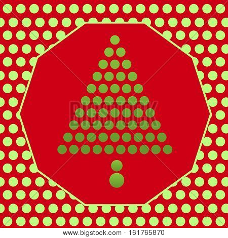 a christmas grreting card with pine tree made from polkadot