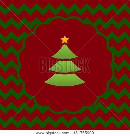 a christmas greeting card with a pine tree decorated with a star above with gree and red zigzag background