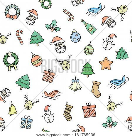 Christmas seamless vector background. Christmas pattern. Vector seamless illustration