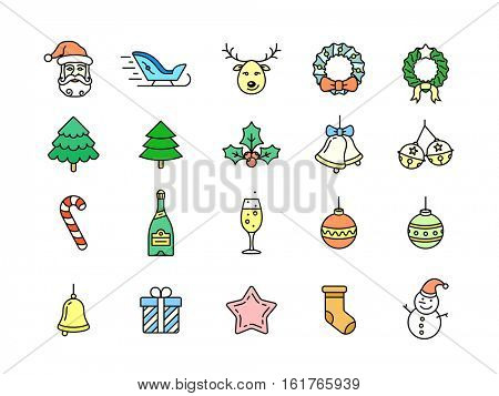 Christmas symbols, objects and decorations in thin line style. Christmas vector icons. Linear style