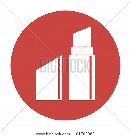 red circle with lipstick icon over white background. makeup concept. vector illustration
