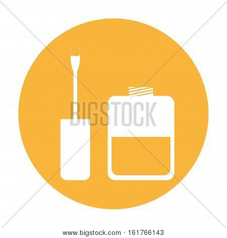 yellow circle with nail lacquer icon over white background. vector illustration