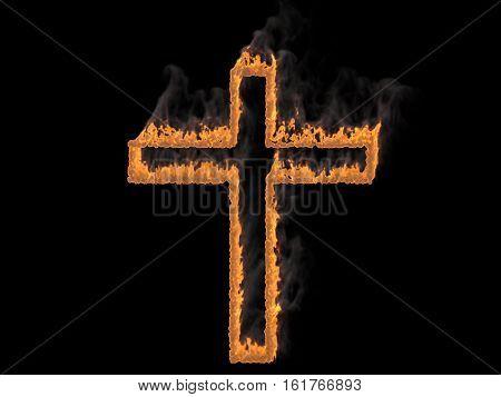 Cross on fire with fume. 3d render. Digital illustration