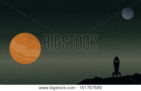 Rocket with planet on outer space landscape vector illustration
