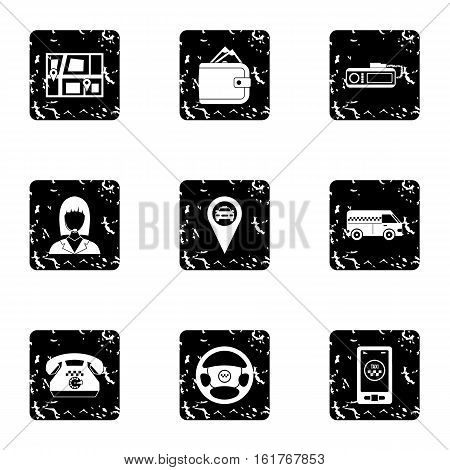 Taxi custom icons set. Grunge illustration of 9 taxi custom vector icons for web