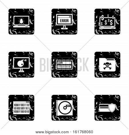 Data theft icons set. Grunge illustration of 9 data theft vector icons for web