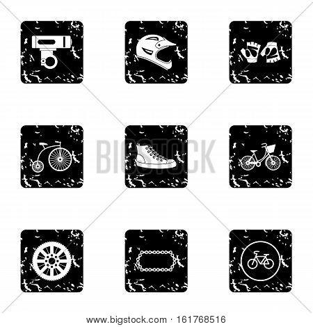 Race cycling icons set. Grunge illustration of 9 race cycling vector icons for web