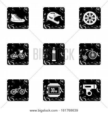 Race bike icons set. Grunge illustration of 9 race bike vector icons for web