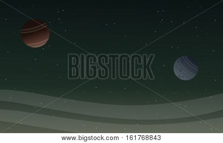 Space landscape with planet backgrunds vector illustration