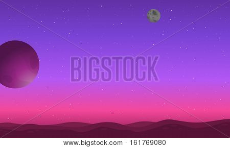 Outer space background with desert and planet landscape illustration