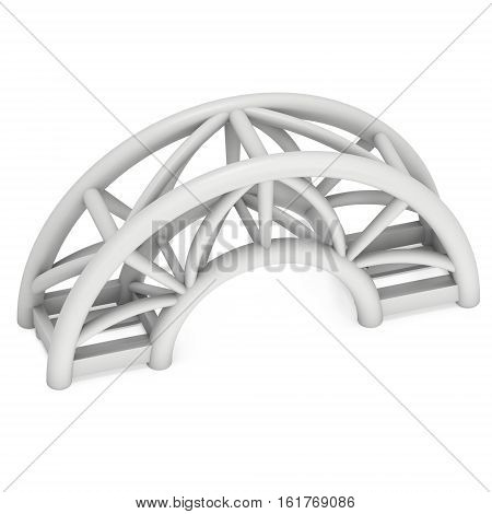 Steel truss arc girder element. 3d render isolated on white