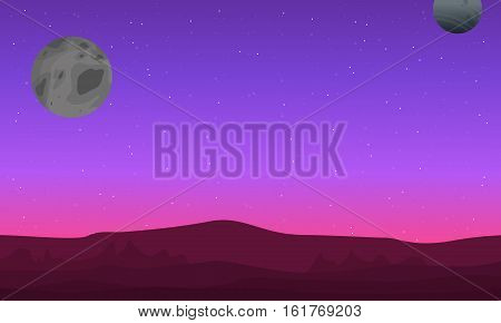 Outer space landscape with mountain silhouettes vector art